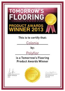 Tomorrows Flooring Product Certificate awarded to Colonia