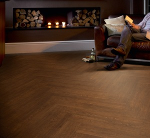 Full Plank Herringbone (Polyflor Colonia Virginia Walnut)