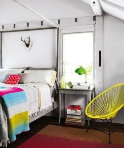 Bright bedroom with fabric and textures