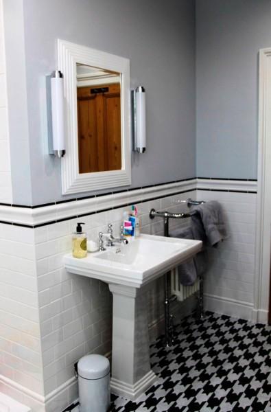 Black and white dogtooth bespoke flooring design