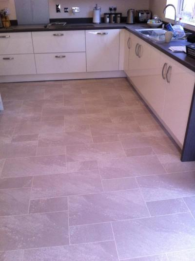 G Wilson Flooring, Colonia Balmoral Grey Slate 4534 with Ice Grouting Strip