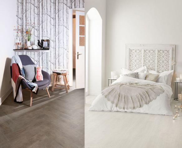 Smokehouse Herringbone 2139 and Chalk White Oak 2141