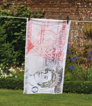 £50 note tea towel from The Present Finder