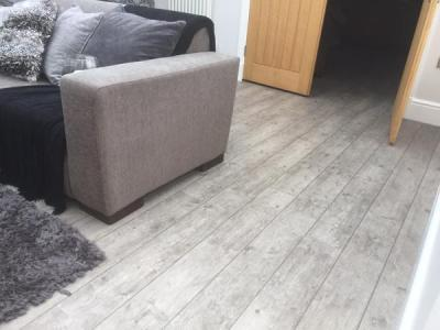 JD Flooring, Camaro Smoke Brushed Elm with Coffee Grouting Strip