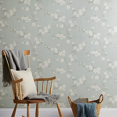 John Lewis Cherry Blossom Wallpaper, Eau De Nil for £25 a roll