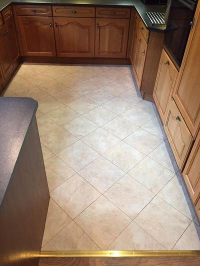 Flooring Emporium, Camaro Portico Limestone with Coffee grouting strip