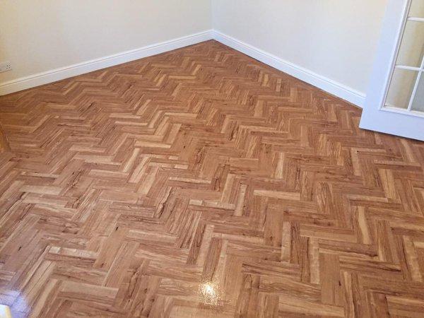 Flooring Emporium, Camaro Nut Tree in herringbone pattern