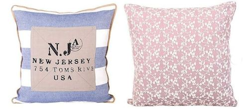 New Jersey cushion (left) and Ditsy Lace cushion (right), both £12.99, Dunelm Mill