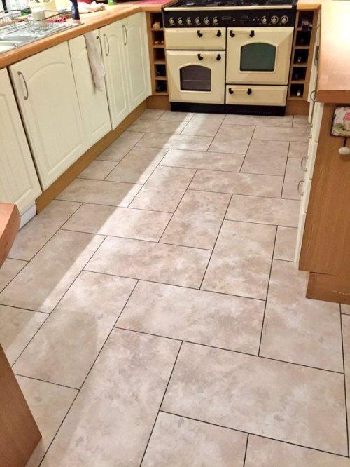Future Flooring, Camaro Portico Limestone with Coffee grouting strip