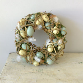 Speckled Egg And Feather Easter Wreath by Ella James, Notonthehighstreet.com, £29.00