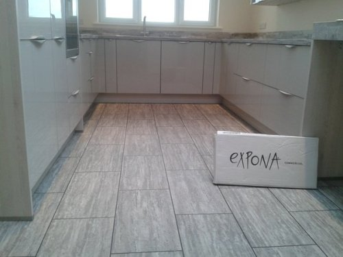 Phil Tonge, Expona Commercial Light Grey Travertine with Graphite Grouting Strip