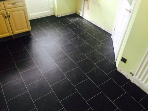 Johnny Emperor Flooring, Colonia Imperial Black Marble Offset Brick Design