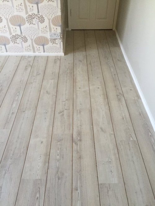 DM Design Floors, Colonia Nordic White Oak with Walnut Marquetry Strip