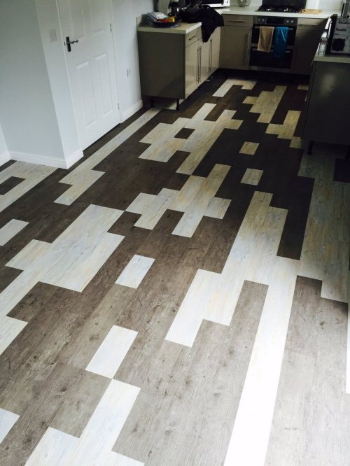 Emperor Flooring, Camaro White Limed Oak and Smoke Brushed Elm in mixed length and random laid pattern
